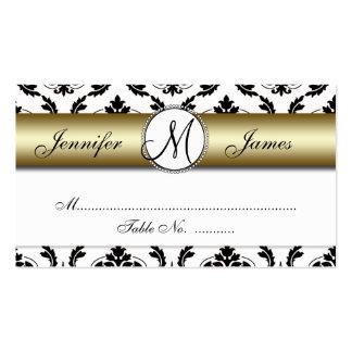 Gold, Black, White Damask Wedding Place Card Business Card