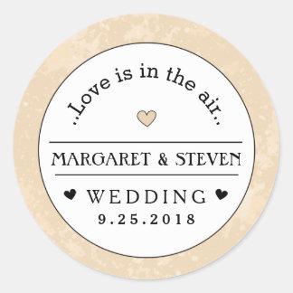 Gold Black & White Heart Wedding Custom Names Love Classic Round Sticker