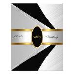 Gold Black White Invite 50th Birthday Party Invitation