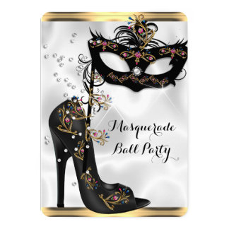 Gold Black White Masquerade Ball Party Mask Jewel 5x7 Paper Invitation Card