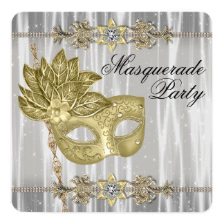 Gold Black White Masquerade Party Card