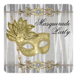 Gold Black White Masquerade Party Card