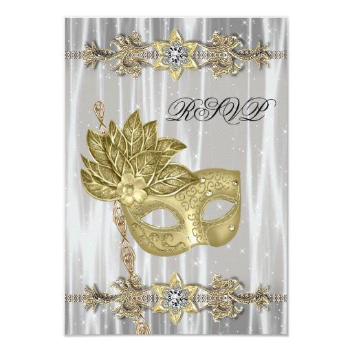 Gold Black White Masquerade Party RSVP Card