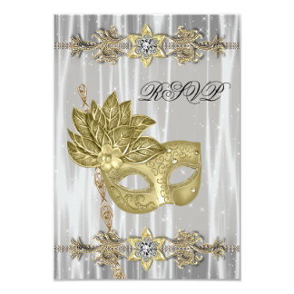 Gold Black White Masquerade Party RSVP Card