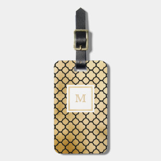 Gold, Black White quatrefoil Luggage Tag
