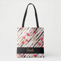 *~* Gold Black White Red Poppy Pattern Tote Bag