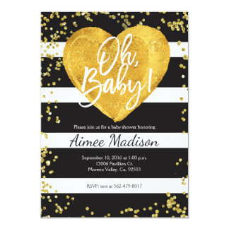 Gold black white striped baby shower invitation