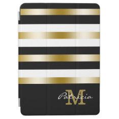 Gold Black White Stripes Custom Monogram Ipad Air Cover at Zazzle