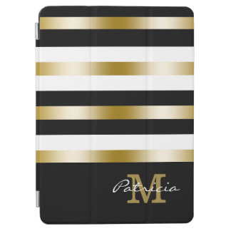 Gold Black White Stripes Custom Monogram iPad Air Cover