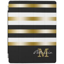 Gold Black White Stripes Custom Monogram iPad Smart Cover