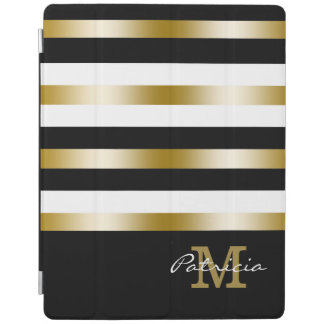 Gold Black White Stripes Custom Monogram iPad Smart Cover