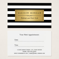 Gold Black White Stripes Reminder Appointment Card at Zazzle