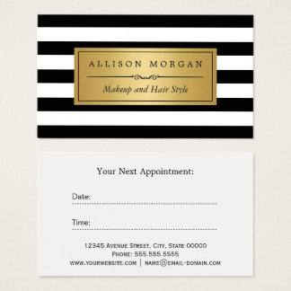 Gold Black White Stripes Reminder Appointment Card
