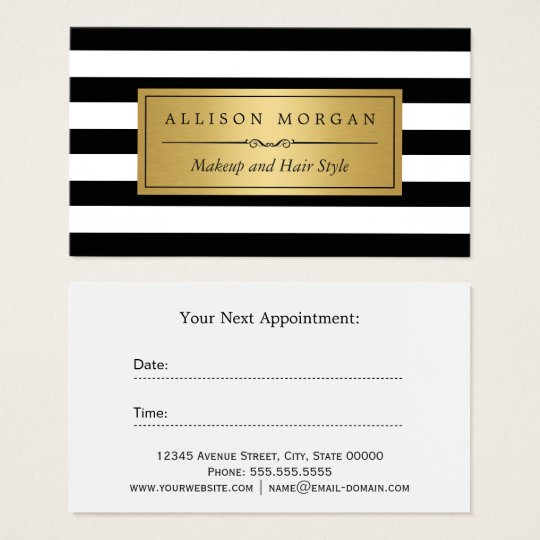 gold black white stripes reminder appointment card zazzle. Black Bedroom Furniture Sets. Home Design Ideas