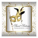 Gold Black White Sweet Sixteen Masquerade Party Invites