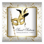 "Gold Black White Sweet Sixteen Masquerade Party 5.25"" Square Invitation Card"