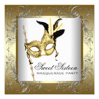 Gold Black White Sweet Sixteen Masquerade Party Announcements
