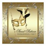 Gold Black White Sweet Sixteen Masquerade Party Invite