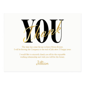 Gold, Black, White Thank You Cards