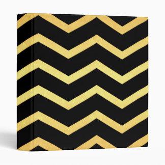 Gold & Black Zig Zag Pattern 3 Ring Binders