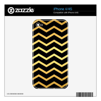 Gold Black Zig Zag Pattern Decals For The iPhone 4S