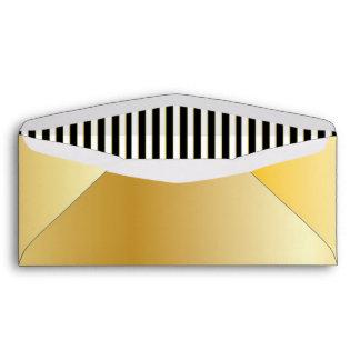 Gold Blank Envelope with Black & White Stripes