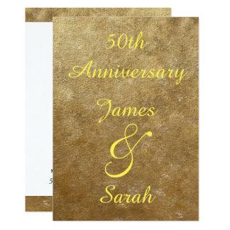 Gold Blends 50th Wedding Anniversary Invitations