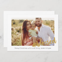 Gold Blessed Christmas Photo Card