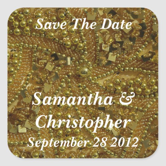Gold bling and pearls square sticker