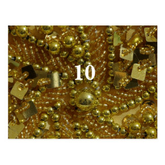 Gold bling and pearls table number postcard