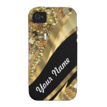 Gold bling & black swirl pattern Case-Mate iPhone 4 covers