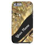 Gold bling & black swirl pattern tough iPhone 6 case