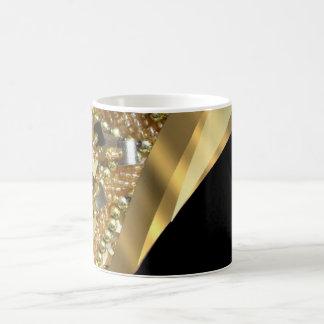 Gold bling & black swirl pattern classic white coffee mug