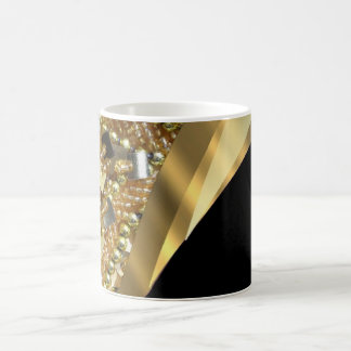 Gold bling & black swirl pattern coffee mug