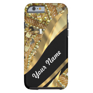 Gold bling & black swirl pattern iPhone 6 case