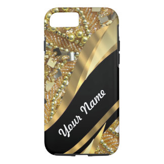 Gold bling & black swirl pattern iPhone 8/7 case