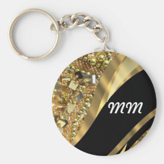 Gold bling & black swirl pattern keychain