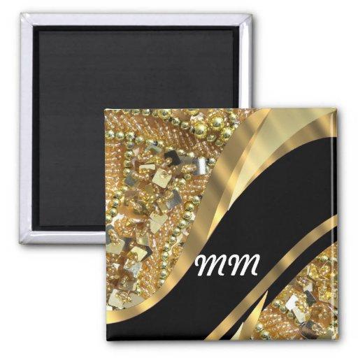 Gold bling & black swirl pattern refrigerator magnets