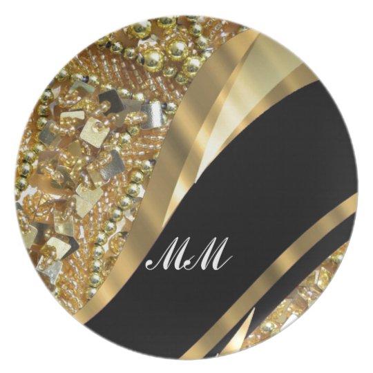 Gold bling & black swirl pattern melamine plate