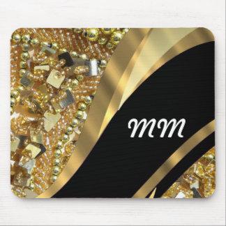 Gold bling & black swirl pattern mousepads