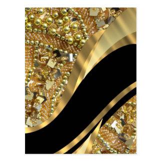 Gold bling & black swirl pattern postcard