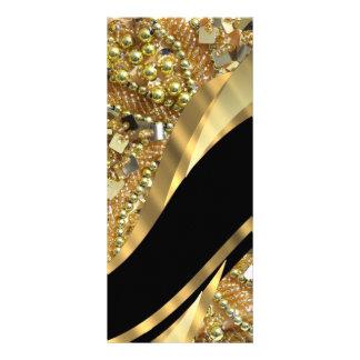 Gold bling & black swirl pattern full color rack card