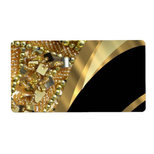 Gold bling & black swirl pattern shipping label