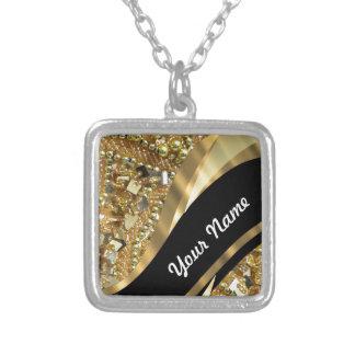 Gold bling & black swirl pattern square pendant necklace
