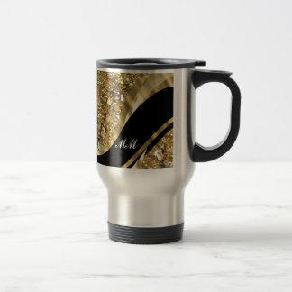 Gold bling & black swirl pattern travel mug