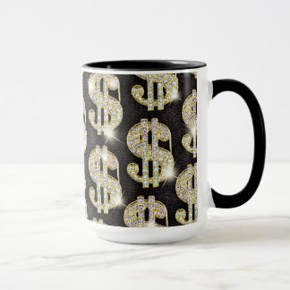Gold Bling Diamonds Dollar Sign Pattern Mug