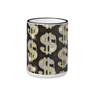 Gold Bling Diamonds Dollar Sign Pattern Ringer Coffee Mug
