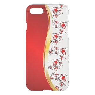 Gold bling faux glitter pattern and red wave iPhone 7 case