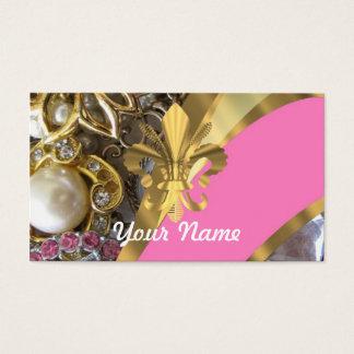 Gold bling fleur de lys business card