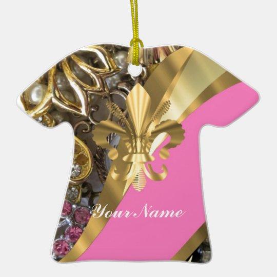 Gold bling fleur de lys ceramic ornament